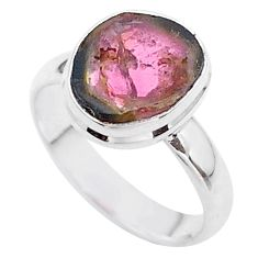 925 silver 4.28cts solitaire watermelon tourmaline slice ring size 7 t46319
