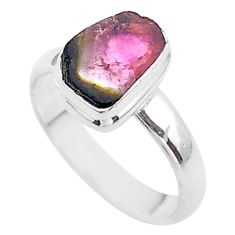 925 silver 3.82cts solitaire watermelon tourmaline slice ring size 7 t46328