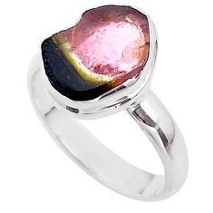 925 silver 4.43cts solitaire watermelon tourmaline slice ring size 7 t46354