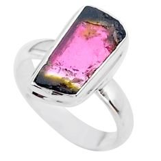 925 silver 4.84cts solitaire watermelon tourmaline slice ring size 7 t46359