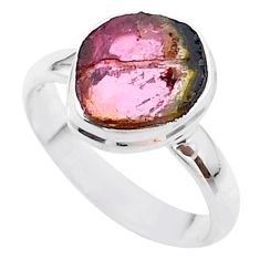 925 silver 4.43cts solitaire watermelon tourmaline slice ring size 8 t46338