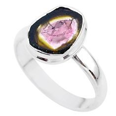 925 silver 4.69cts solitaire watermelon tourmaline slice ring size 9 t46285
