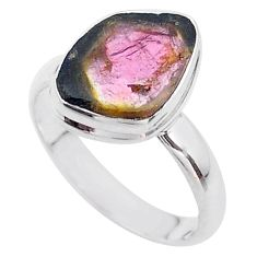 925 silver 5.55cts solitaire watermelon tourmaline slice ring size 9 t46294