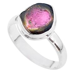 925 silver 5.09cts solitaire watermelon tourmaline slice ring size 9 t46313
