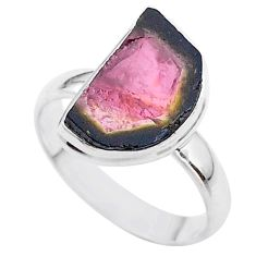 925 silver 6.54cts solitaire watermelon tourmaline slice ring size 9 t46316