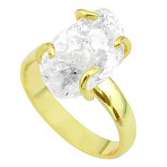925 silver 6.43cts solitaire white herkimer diamond 14k gold ring size 7 t49424