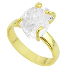 925 silver 5.84cts solitaire white herkimer diamond 14k gold ring size 7 t49435