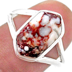 925 silver 5.54cts solitaire wild horse magnesite hexagon ring size 8.5 t48510