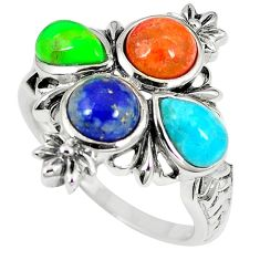 925 silver southwestern multi color copper turquoise ring size 8.5 c10360