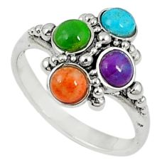 925 silver southwestern multi color copper turquoise ring size 7.5 c10378