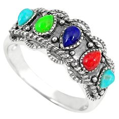 925 silver southwestern multi color copper turquoise ring size 9.5 c10386