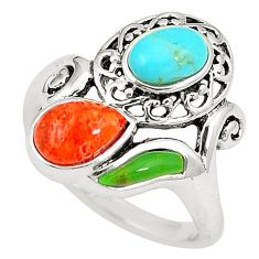 925 silver southwestern multi color copper turquoise ring size 5 c10380