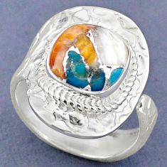 925 silver 5.36cts spiny oyster arizona turquoise adjustable ring size 8 r63274