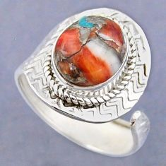 925 silver 5.12cts spiny oyster arizona turquoise adjustable ring size 9 r54792