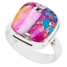 925 silver 6.80cts spiny oyster arizona turquoise solitaire ring size 6 r93364
