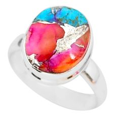 925 silver 5.38cts spiny oyster arizona turquoise solitaire ring size 6 r93379