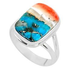 925 silver 5.71cts spiny oyster arizona turquoise solitaire ring size 6 t12940