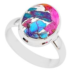 925 silver 5.38cts spiny oyster arizona turquoise solitaire ring size 7 r93347