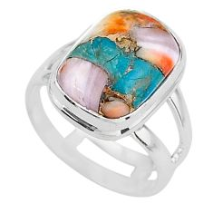 925 silver 6.83cts spiny oyster arizona turquoise solitaire ring size 7 t12912