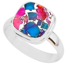 925 silver 5.62cts spiny oyster arizona turquoise solitaire ring size 9 r93368