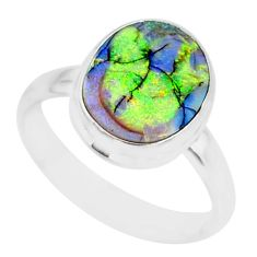 925 silver 3.46cts sterling opal oval shape solitaire ring jewelry size 9 r84640