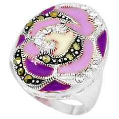 0.79cts white topaz marcasite purple enamel 925 silver ring size 7.5 c15885