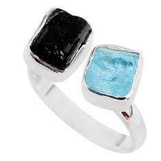 925 silver 10.31cts tourmaline aquamarine raw adjustable ring size 8 t37820