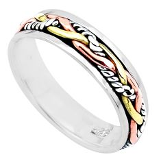 5.02gms 925 silver two tone spinner band meditation ring size 13.5 c21597