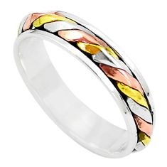 925 silver 4.87gms two tone spinner band meditation ring jewelry size 7.5 c20990