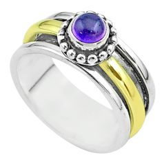 925 silver 0.90cts victorian amethyst two tone spinner band ring size 8.5 t51813