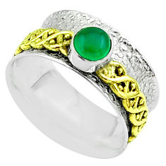 925 silver 0.90cts victorian chalcedony two tone spinner band ring size 8 t51800