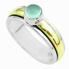 925 silver 0.85cts victorian chalcedony two tone spinner band ring size 8 t51856