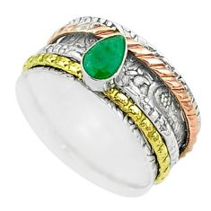 925 silver 1.10cts victorian emerald two tone spinner band ring size 8 t51511