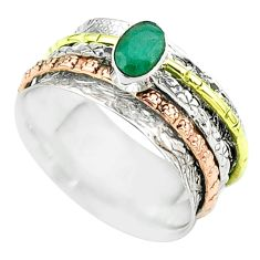 925 silver 1.00cts victorian emerald two tone spinner band ring size 9 t51697