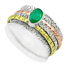 925 silver 1.13cts victorian emerald two tone spinner band ring size 7.5 t51513