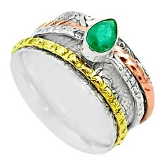925 silver 1.10cts victorian emerald two tone spinner band ring size 7.5 t51520