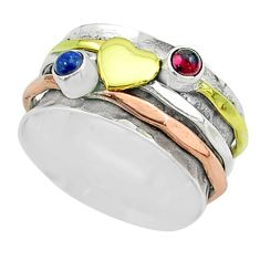 925 silver 0.66cts victorian garnet two tone spinner band ring size 7.5 t51525