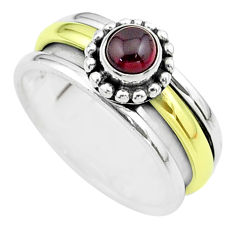 925 silver 0.83cts victorian garnet two tone spinner band ring size 8.5 t51807