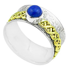 925 silver victorian lapis lazuli two tone spinner band ring size 8.5 t51789