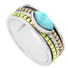 925 silver 1.83cts victorian larimar two tone spinner band ring size 8 t51894