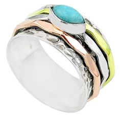 925 silver 1.97cts victorian larimar two tone spinner band ring size 9 t51627