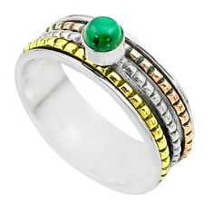 925 silver 0.55cts victorian malachite two tone spinner band ring size 9 t51596