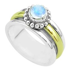 925 silver 0.83cts victorian moonstone two tone spinner band ring size 7 t51811