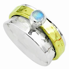 925 silver 0.47cts victorian moonstone two tone spinner band ring size 7 t51829