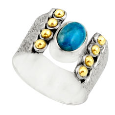925 silver 2.19cts victorian natural blue apatite two tone ring size 7.5 r21095