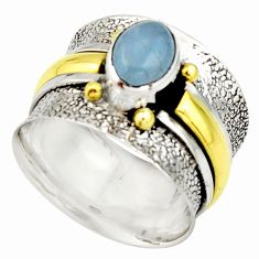 925 silver 2.27cts victorian natural blue aquamarine two tone ring size 8 r21055