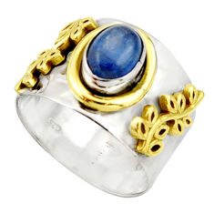 925 silver 2.28cts victorian natural blue kyanite two tone ring size 8.5 r21034
