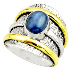 925 silver 3.16cts victorian natural blue kyanite two tone ring size 6.5 r22174