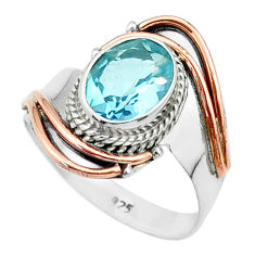 925 silver 3.11cts victorian natural blue topaz rose two tone ring size 7 t57400