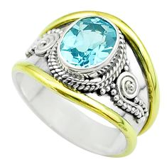 925 silver 3.17cts victorian natural blue topaz two tone ring size 8.5 t57386